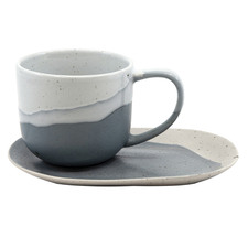 Salt & Pepper White & Blue Roam 240ml Teacups & Saucers (Set of 6)
