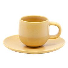 Salt & Pepper Yellow Hue 85ml Espresso Cups & Saucers (Set of 6)