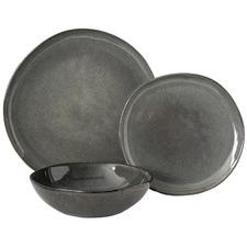 12 Piece Salt & Pepper Stone Series Stoneware Dinner Set