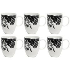 Salt & Pepper White & Black Neri 330ml Mugs (Set of 6)