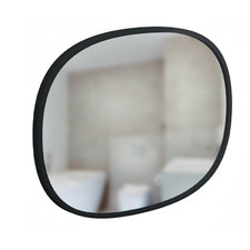 Black Hub Oval Metal Wall Mirror