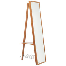 Natural Vanesia Floor Mirror with Clothes Rack