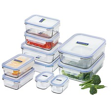 Set of 10 Rectangular Glass Containers