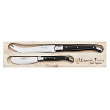 2 Piece Black Laguiole Jean Neron Cheese Knife & Spreader Set