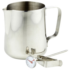 2 Piece Milk Frothing Jug & Thermometer Set