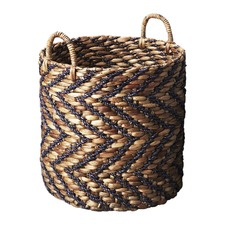 Black Chevron Water Hyacinth Basket with Seagrass Pattern