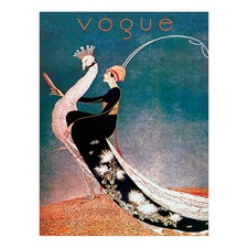Vintage Vogue Ride The Peacock Canvas Wall Art