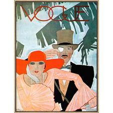 Vintage Vogue Cover Couple Drop Shadow Framed Canvas Wall Art