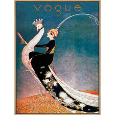 Vogue Ride The Peacock Drop Shadow Framed Canvas Wall Art