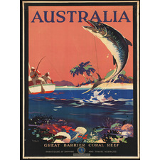 Vintage Australia Great Barrier Reef Canvas Wall Art