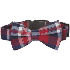 Red Tartan Bow Tie Cotton Dog Collar