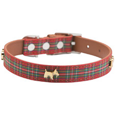 Red Tartan Highland Leather Dog Collar