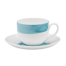Ecology Watercolour Aqua Teacup & Saucer (Set of 6)