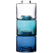 Blue & Clear Stacking Vase Trio