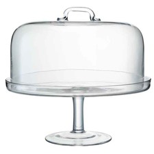 Clear Glass Dome & Cake Stand Set