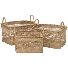 3 Piece Rectangular Seagrass Nesting Basket Set