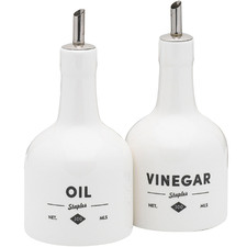 2 Piece Staples Foundry Porcelain Oil & Vinegar Bottle Set