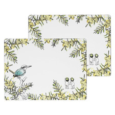 Large White Wattle Wooden Placemats (Set of 2)
