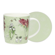 2 Piece Green Gumnut Fine China Mug & Coaster Set