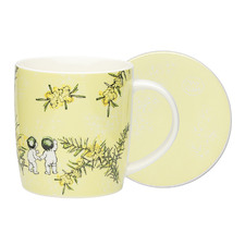 2 Piece Yellow Wattle Fine China Mug & Coaster Set