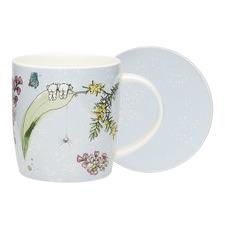 2 Piece Blue Boronia Fine China Mug & Coaster Set