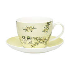 2 Piece Yellow Wattle Fine China Cup & Saucer Set
