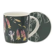 2 Piece Dark Green Flower Babies Mug & Coaster Set