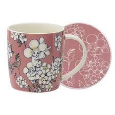 2 Piece Pink Flower Babies Mug & Coaster Set