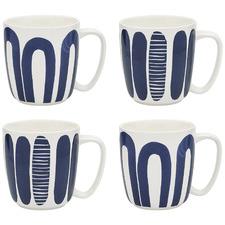 4 Piece Maya 300ml Porcelain Mugs Set