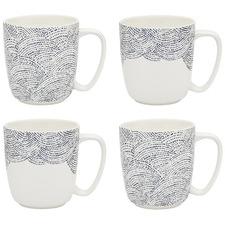 4 Piece Adriatic 300ml Porcelain Mugs Set