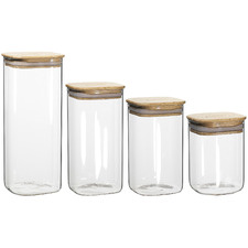 4 Piece Ecology Pantry Square Glass Canister with Bamboo Lid Set