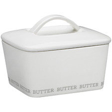 White Ecology Abode 15cm Porcelain Butter Dish with Lid