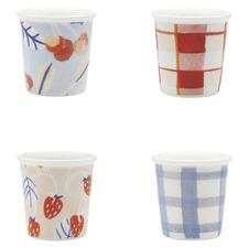 4 Piece Ecology Multi-Coloured 70ml New Bone China Espresso Cups Set