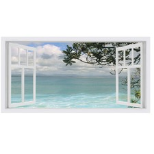 Aqua Sun Vista Stretched Canvas