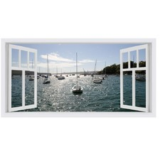 Balmoral Boats Window Stretched Canvas