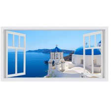 Santorini Vista I Stretched Canvas