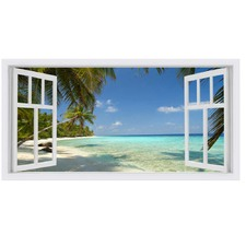 Tropica I Window Stretched Canvas