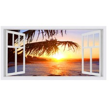 Tropica Window Stretched Canvas