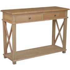 X-Brace 2 Drawer Oak Console Table