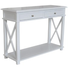 Hamptons X-Brace 2 Drawer Birch Console Table