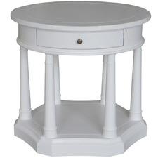 Round Trestle Birch Side Table