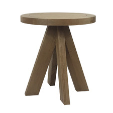 Round French Oak Wood Side Table