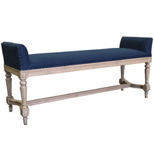 Navy Simon Linen Bench