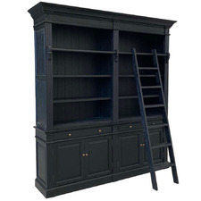 Black French Wooden Bookcase with Ladder