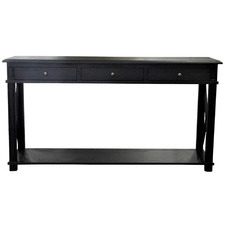 X-Brace 3 Drawer Oak Console Table