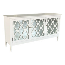 White Claire 3 Door Birch Wood Buffet Table