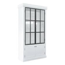 White Washington Birch Wood Display Cabinet with Bottom Storage