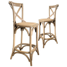 66cm Kasan Oak Wood Barstools (Set of 2)