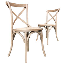 Kasan Oak Wood Dining Chairs (Set of 2)