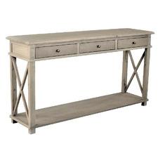 X-Brace 3 Drawer Oak Console Table